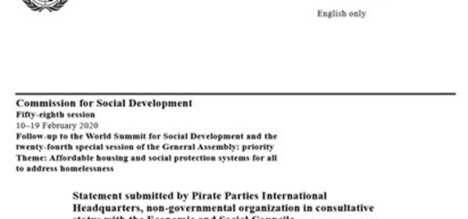 Pirate Statement on Homelessness for the United Nations