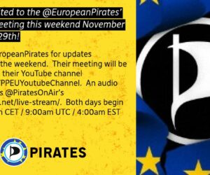 The @EuropeanPirates' Council Meeting is this weekend!  Sign up for their email list too if you haven't yet.